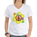 Peace Blossoms / orange Women's V-Neck T-Shirt