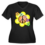 Peace Blossoms / orange Women's Plus Size V-Neck D