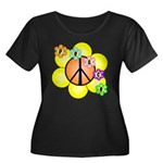 Peace Blossoms / orange Women's Plus Size Scoop Ne