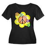 Peace Blossoms / orange Women's Plus Size Scoop Ne