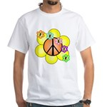 Peace Blossoms / orange White T-Shirt