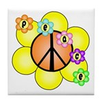 Peace Blossoms / orange Tile Coaster