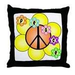 Peace Blossoms / orange Throw Pillow