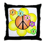 Peace Blossoms / orange Throw Pillow
