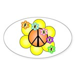 Peace Blossoms / orange Oval Sticker