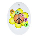 Peace Blossoms / orange Oval Ornament