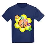 Peace Blossoms / orange Kids Dark T-Shirt