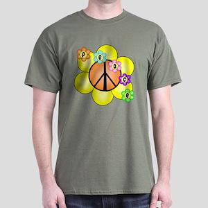 Peace Blossoms / orange Dark T-Shirt