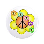 "Peace Blossoms / orange 3.5"" Button"