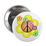 """Peace Blossoms / orange 2.25"""" Button"""