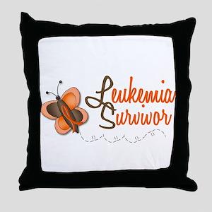 Leukemia Survivor 1 Butterfly 2 Throw Pillow