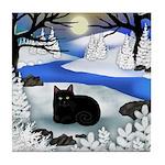 BLACK CAT FROZEN RIVER Tile Coaster