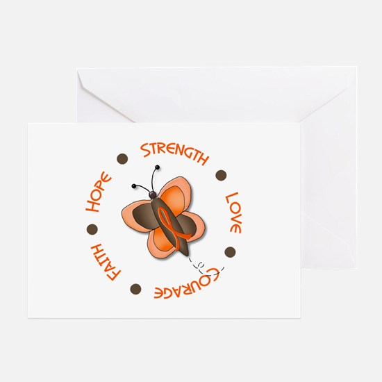 Hope Courage 1 Butterfly 2 ORANGE Greeting Card