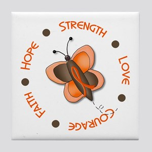 Hope Courage 1 Butterfly 2 ORANGE Tile Coaster