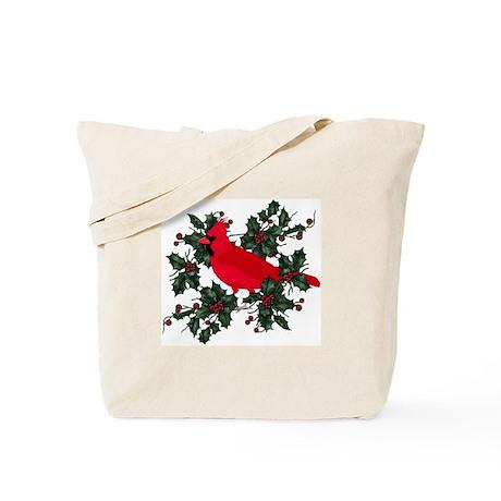 Holly Berries & Red Cardinal Tote Bag
