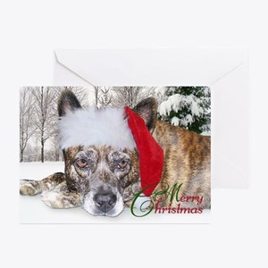 Christmas Brindle Mountain Cur Greeting Cards (Pk