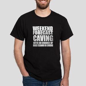 Weekend Forecast Caving Sports Design Dark T-Shirt