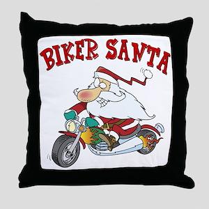 Biker Santa Throw Pillow