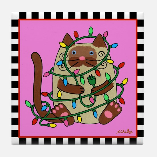 Siamese Cat & Christmas Lights Pink Tile Coast