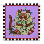 Siamese Cat & Christmas Lights Purple Tile Coa
