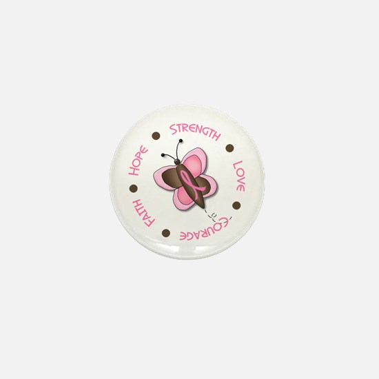Hope Courage 1 Butterfly 2 PINK Mini Button