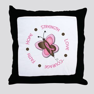 Hope Courage 1 Butterfly 2 PINK Throw Pillow