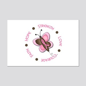 Hope Courage 1 Butterfly 2 PINK Mini Poster Print