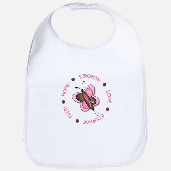 Hope Courage 1 Butterfly 2 PINK Bib