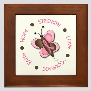 Hope Courage 1 Butterfly 2 PINK Framed Tile