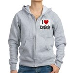 I Love Cardinals Women's Zip Hoodie