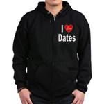 I Love Dates Zip Hoodie (dark)