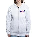 God Bless America Heart Flag Women's Zip Hoodie