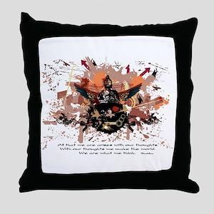 Buddha Buddhist Grunge Throw Pillow