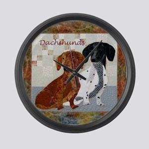 Quilted Dachshunds Large Wall Clock