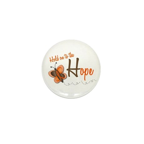 Hold On To Hope 1 Butterfly 2 ORANGE Mini Button (