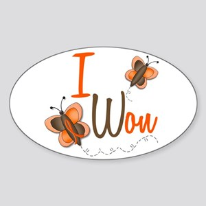 I Won 1 Butterfly 2 ORANGE Oval Sticker