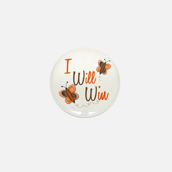 I Will Win 1 Butterfly 2 ORANGE Mini Button