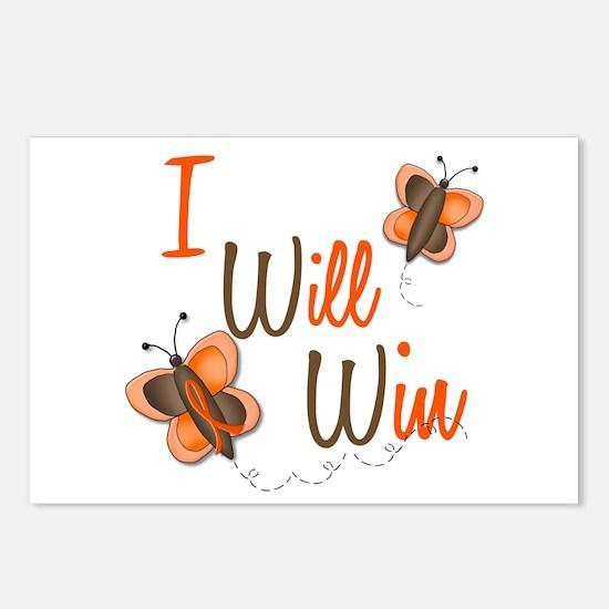 I Will Win 1 Butterfly 2 ORANGE Postcards (Package