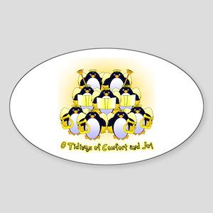 Penguin Tidings Oval Sticker