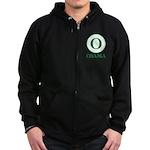Green O Obama Zip Hoodie (dark)