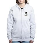Teal Ribbon Penguin Women's Zip Hoodie