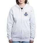 Blue CheerLeader Penguin Women's Zip Hoodie