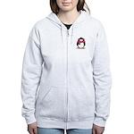 Pink Earmuff Penguin Women's Zip Hoodie