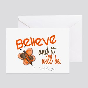 Believe 1 Butterfly 2 ORANGE Greeting Card