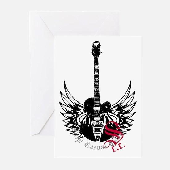 Black Winged Guitar Greeting Cards (Pk of 20)