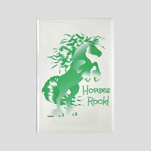 Horses Rock Green- Rectangle Magnet