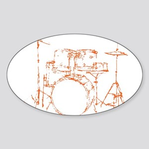 Drum Kit Drums Set Oval Sticker