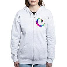 Rainbow Islamic Symbol Women's Zip Hoodie