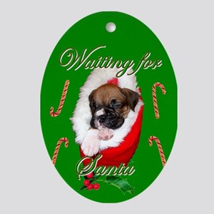 Waiting for Santa Boxer Puppy Ornament (Oval)