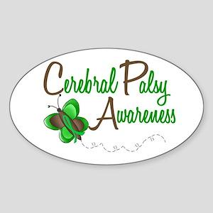 CP Awareness 1 Butterfly 2 Oval Sticker